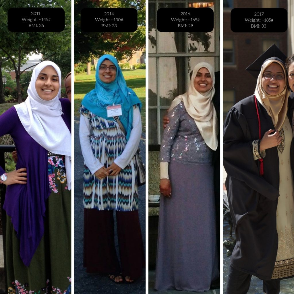 Four different photos of the author at different sizes and stages of her life.